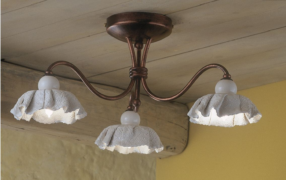 Modena pl3 soffitto di ferroluce rustico interno for Lampade a led vendita online
