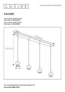 LU 09434/04/30 Lucide FAVORI - Pendant light - 4xGU10 - Black