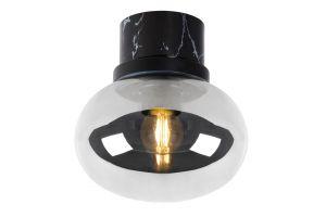 LU 03140/18/65 LORENA Ceiling Light E27 Ø 18cm Black Marble/Smoke