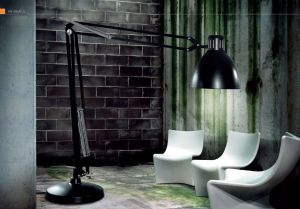 Gigantische Stehlampe Great JJ von Leucos schwarz